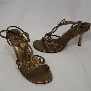 NWOT Pierre Dumas Cynthia Bronze Strappy Heels 8.5